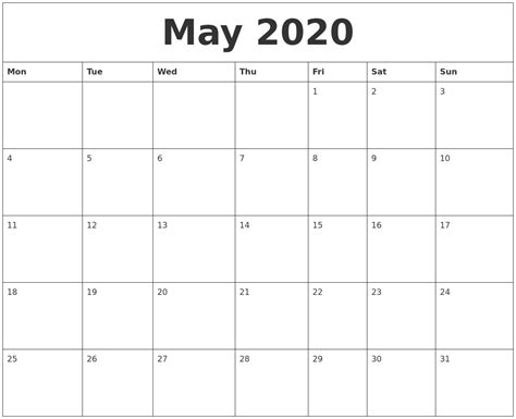 printable monthly calendar free online may 2020 free printable monthly calendar
