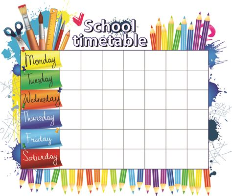 timetable school template study timetable template for high school students
