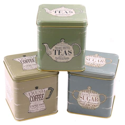 set of 3 coffee tea sugar hinged lid canisters retro