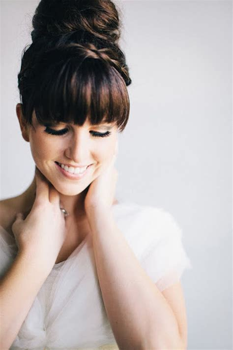 25 best ideas about wedding hair bangs on wedding hair fringes curly bridesmaid