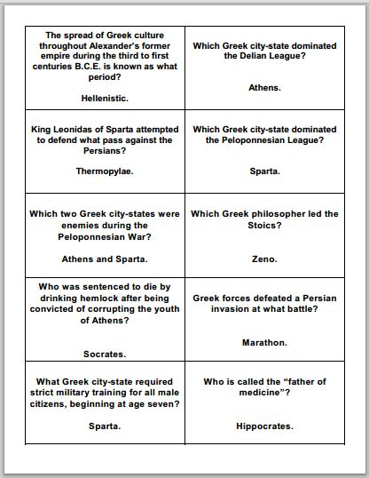 printable quiz cards ancient greece study game gards free to print pdf file