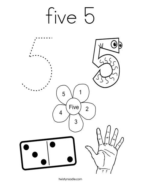 coloring pages of numbers 1 5 five 5 coloring page twisty noodle