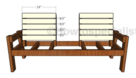 bench with backrest plans large outdoor double chair bench plans howtospecialist