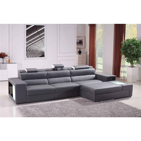 Family Room Sectional Sofas Contemporary Style Living Room With Grey Bonded Leather Sectional Sofa And Leather Match Pvc