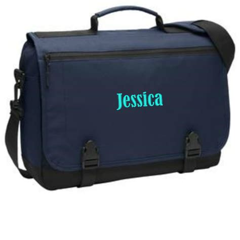 personalized messenger briefcase black monogrammed laptop