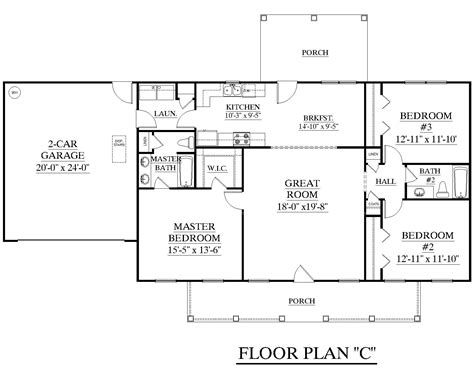 1 Floor House Plans by House Plan 1500 C The C Attractive One Story Ranch