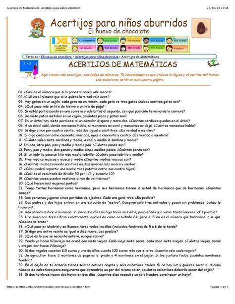 preguntas de matemáticas para niños calam 233 o acertijos de matem 195 ticas 1 acertijos para ni 195