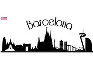Designer Clocks wall sticker barcelona skyline beiwanda co uk