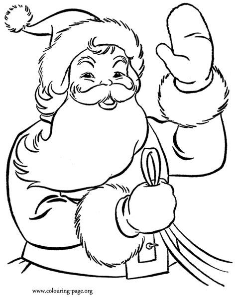 santa claus coloring page pdf christmas santa claus waving to the kids coloring page