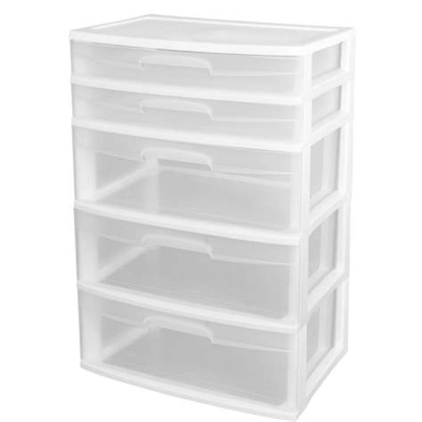 sterilite storage drawers walmart sterilite 5 drawer wide tower white wheels not included
