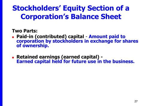 in the stockholders equity section of the balance sheet ppt financial accounting tools for business decision