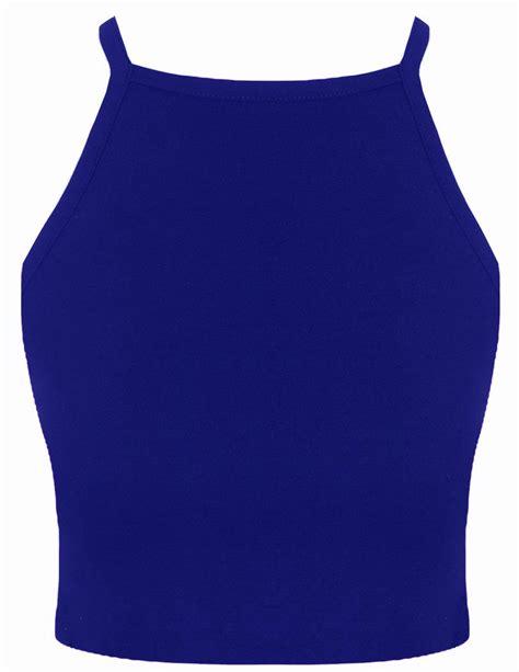 Crop Plain White Blue womens plain strappy high neck crop top sleeveless bralet vest top ebay