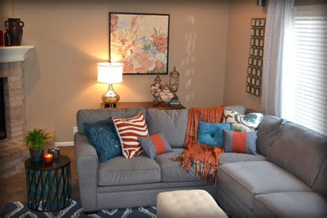 orange and gray living room casual orange blue and gray family room traditional