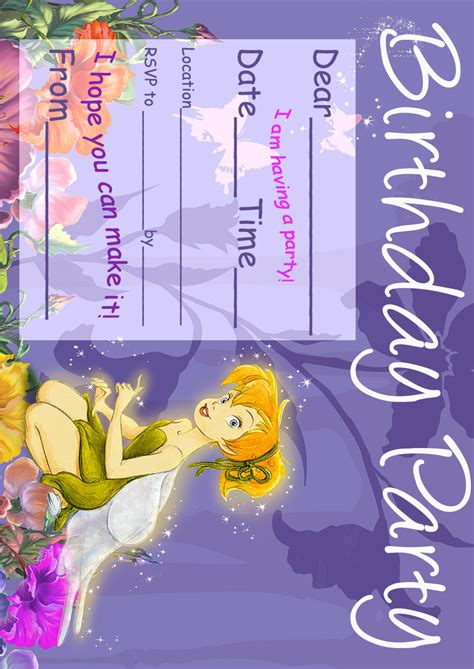 printable invitations tinkerbell tinkerbell birthday party invitation printable best gift