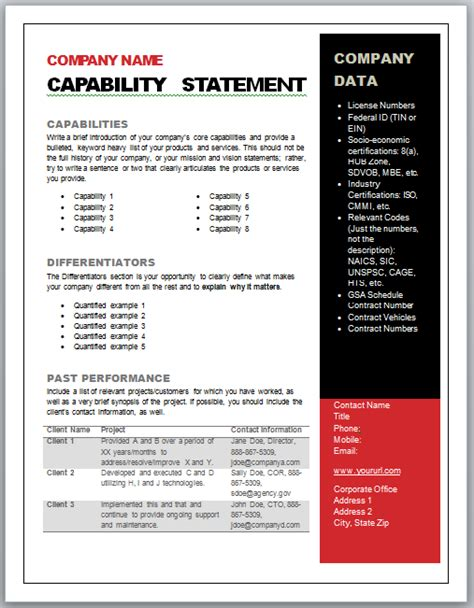Capability Statement Template Word Capabilities Statement Government Marketing Step 1