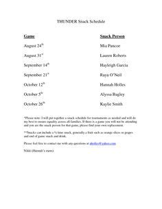Parent Letter Baseball Snack Schedule Template Fall Soccer Season Snack Drink Schedule For Monday Everything