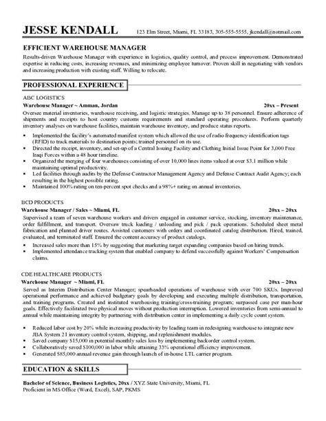 warehouse resume format 7 resume objective for warehouse worker sle resumes