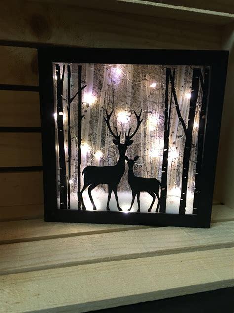 lighted deer deer lighted shadow box 8x8 light decor