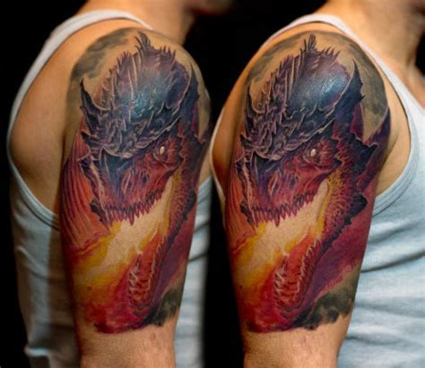 fire breathing dragon tattoo designs dragons breathing tattoos www pixshark images