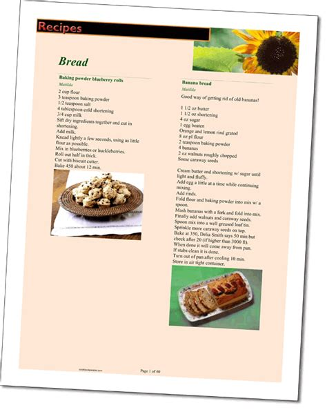 cookbook layout template recipe layouts make your cookbook come alive