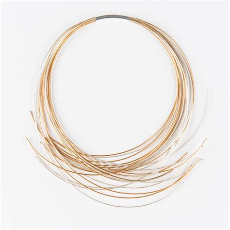 Line Gold Necklace mca chicago store twelve line silver and gold cable necklace