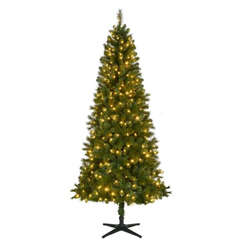 15 ft pre lit led wesley pine artificial christmas tree home accents 7 5 ft pre lit led wesley spruce slim artificial tree with color