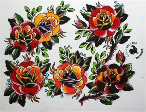 roses tattoo flash american traditional flower stencils traditional