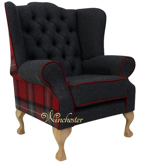 red check armchair chesterfield frederick wing chair fireside high back