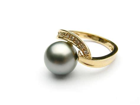 Pearl Ring by Black Tahitian Pearl Ring Aaa Pearl Rings