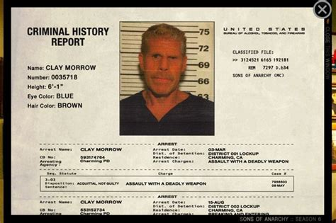 Criminal Record Clay Morrow Sons Of Anarchy Clay