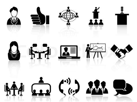 Office Chair Wiki isolated black business meeting icons set from white