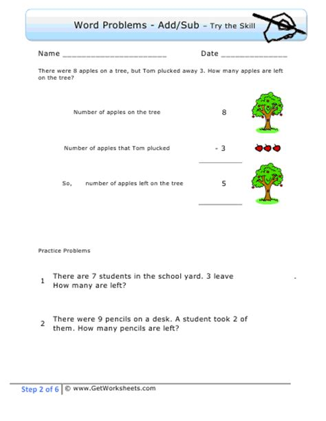 1st Grade Math Worksheets Word Problems by Grade Step 2 Exle
