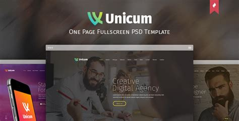 themeforest unicum unicum one page fullscreen psd template by themefire