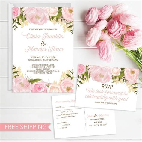 wedding sts for card pink floral wedding invitation set wedding invite rsvp
