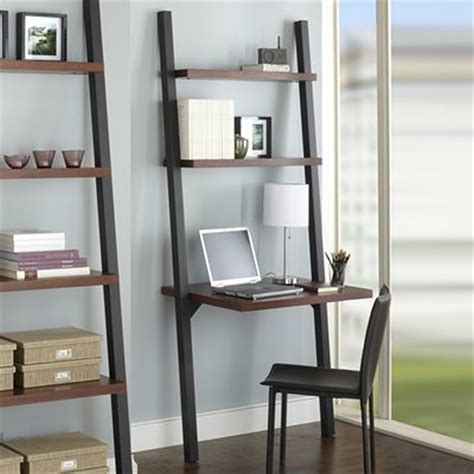 leaning computer desk ladder bookshelf and desk furniture kicking ladder shelf
