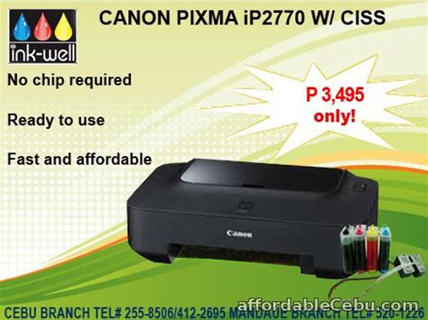 Canon Ip2770 Print Only canon ip2770 printer w ciss 3 495 limited stocks free energizer alkaline 4s aaa for sale