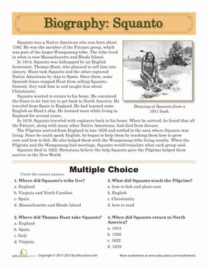 biography questions worksheet squanto biography worksheets comprehension worksheets