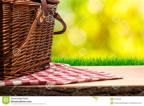 picnic basket   table royalty  stock images