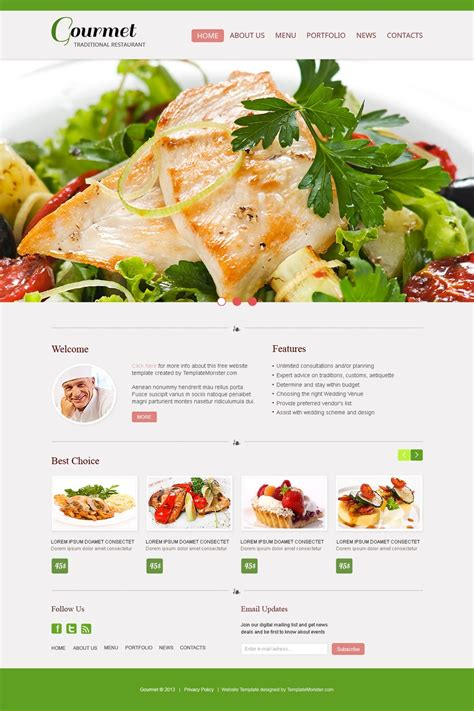 Free Website Template Restaurant Catering Website Templates Free