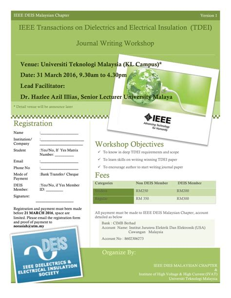 ieee malaysia section tdei journal writing workshop 31 march 2016 ieee