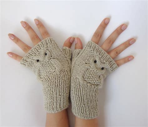 owl fingerless gloves knitting pattern owl fingerless gloves knitted mittens or mitts in