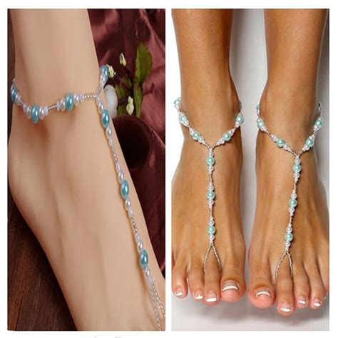 Handmade Anklet - handmade blue pearls barefoot sandals set wedding
