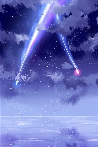 beautiful sky meteor anime  iphone xsx wallpaper background picture image