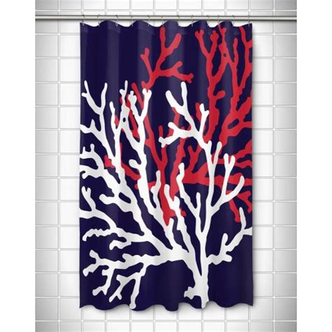 navy and red shower curtain island girl coral duo on navy shower curtain