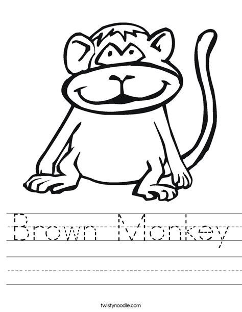 monkey coloring page preschool brown monkey worksheet twisty noodle