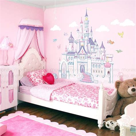 Disney Princess Castle With Colorful Birds And Squirrel Disney Princess Wall Decals For Rooms