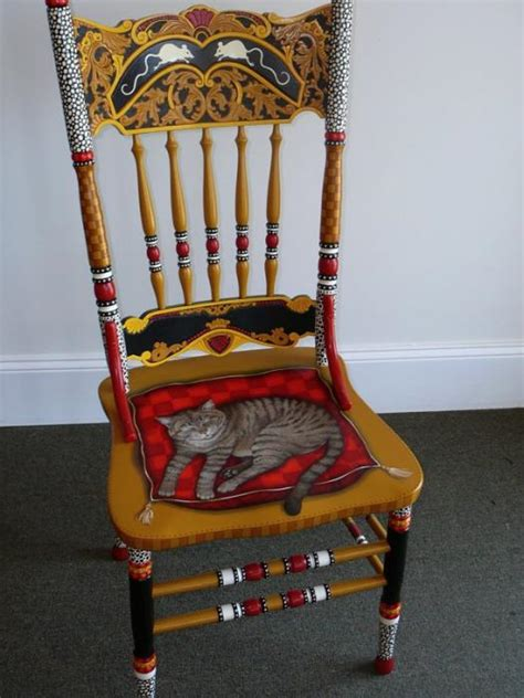painted chairs images painted cat chair by andrea ellwood