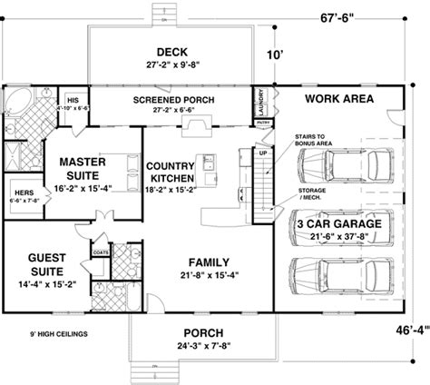 ranch floor plans with bonus room versatile ranch with large bonus room 20076ga 1st