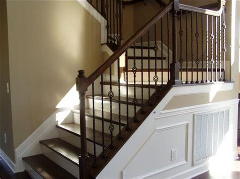 dark wood banister dark handrail railing dark treads and white risers stairs and railings