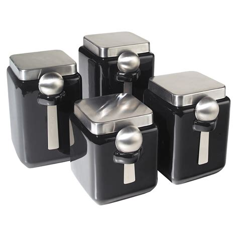 square kitchen canisters oggi square canister black 4 fab